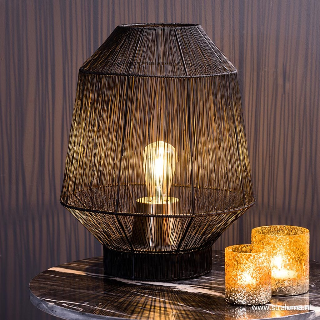 Zwart metalen tafellamp Vitora met brons