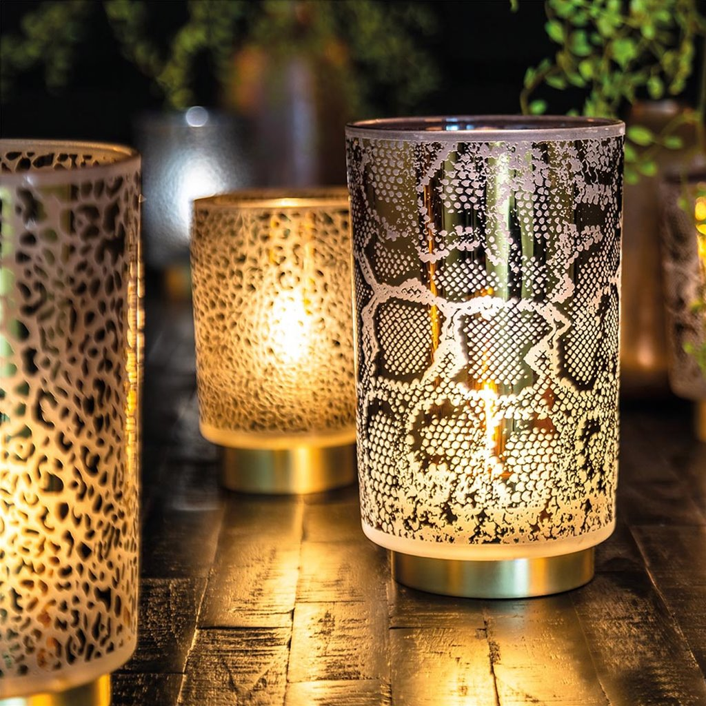 Light & Living tafellamp op batterij Snake grijs/goud