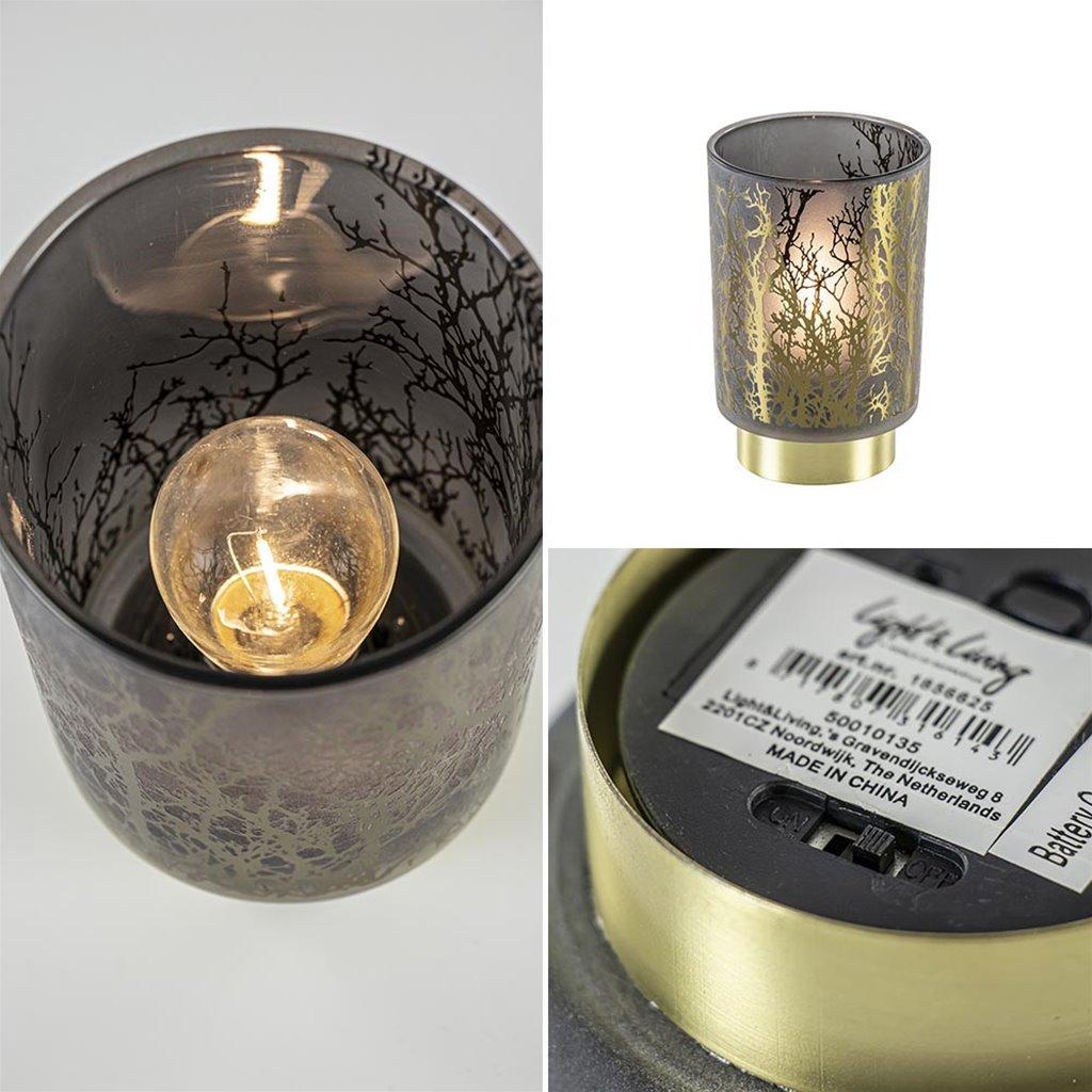 Tafellamp Branch grijs/goud op batterijen