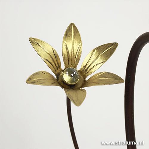 Klassieke tafellamp bruin met bloem