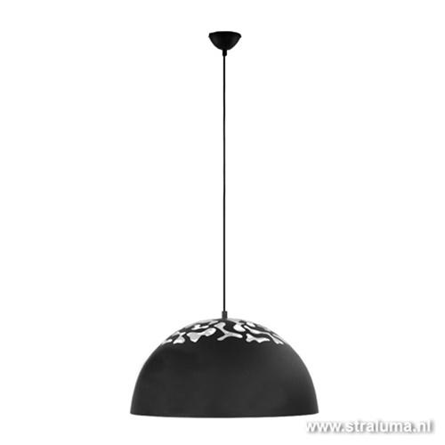 Opengewerkte hanglamp koepel zwart