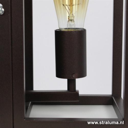 Wandlamp lantaarn bruin frame