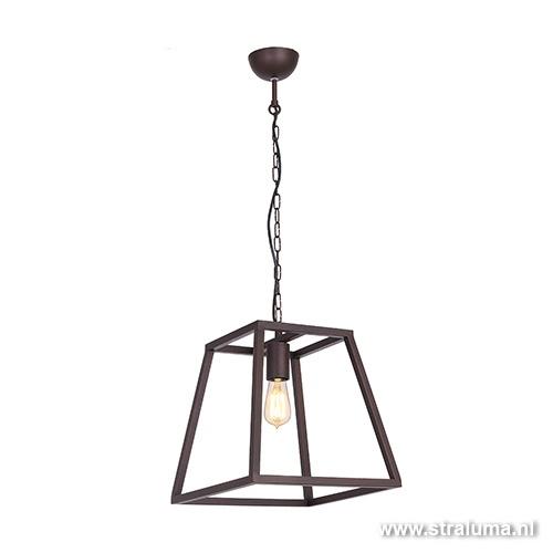 Lantaarn hanglamp landelijk bruin frame