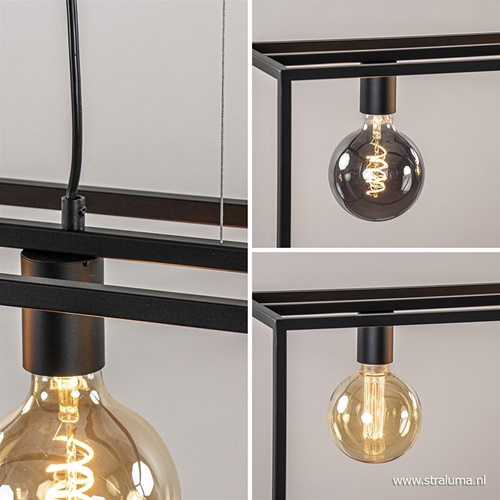 Hanglamp balk zwart open frame 4-lichts