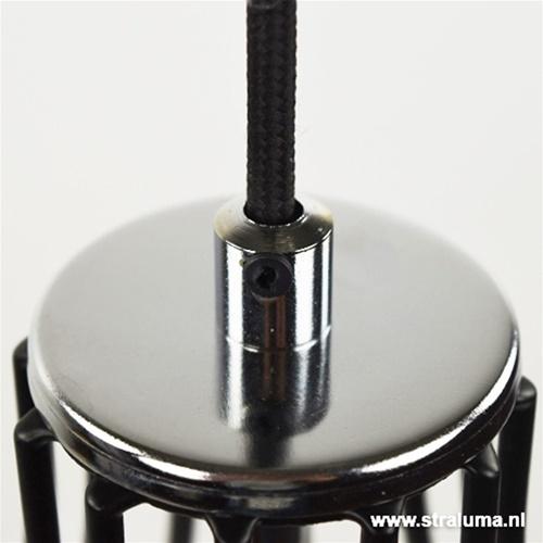 Draad hanglamp zwart chroom slaapkamer