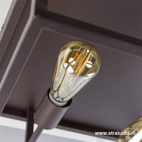 Strak vierkante plafondlamp roest-bruin