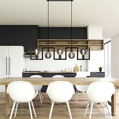 Metalen eettafel hanglamp zwart frame