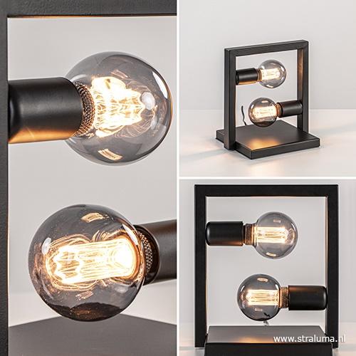 Tafellamp 2L frame zwart