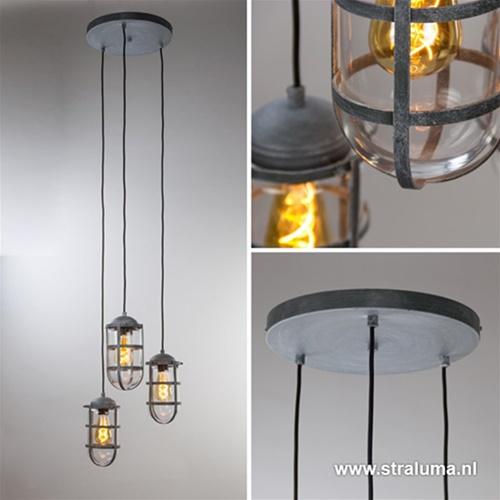 Betonlook hanglamp met drie lampen rond