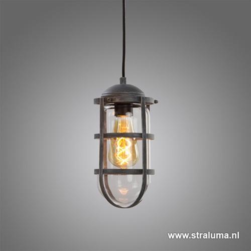 Industriele hanglamp betonlook met glas