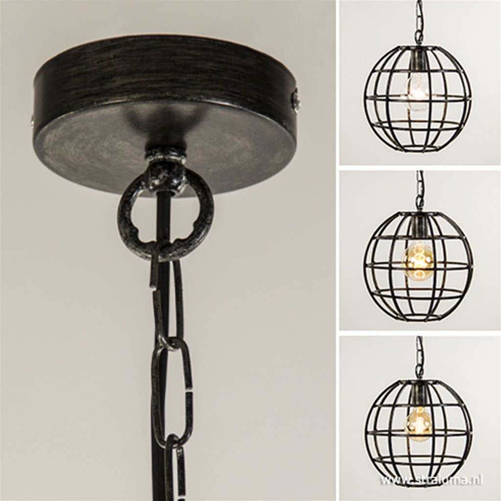 Hanglamp globe zwart industrieel