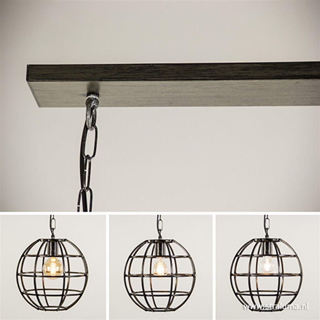 Hanglamp 3-lichts globe frame zwartstaal