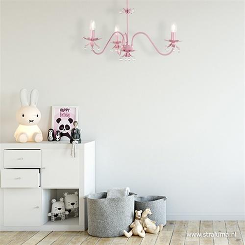 Roze hanglamp-kinderlamp met kristal
