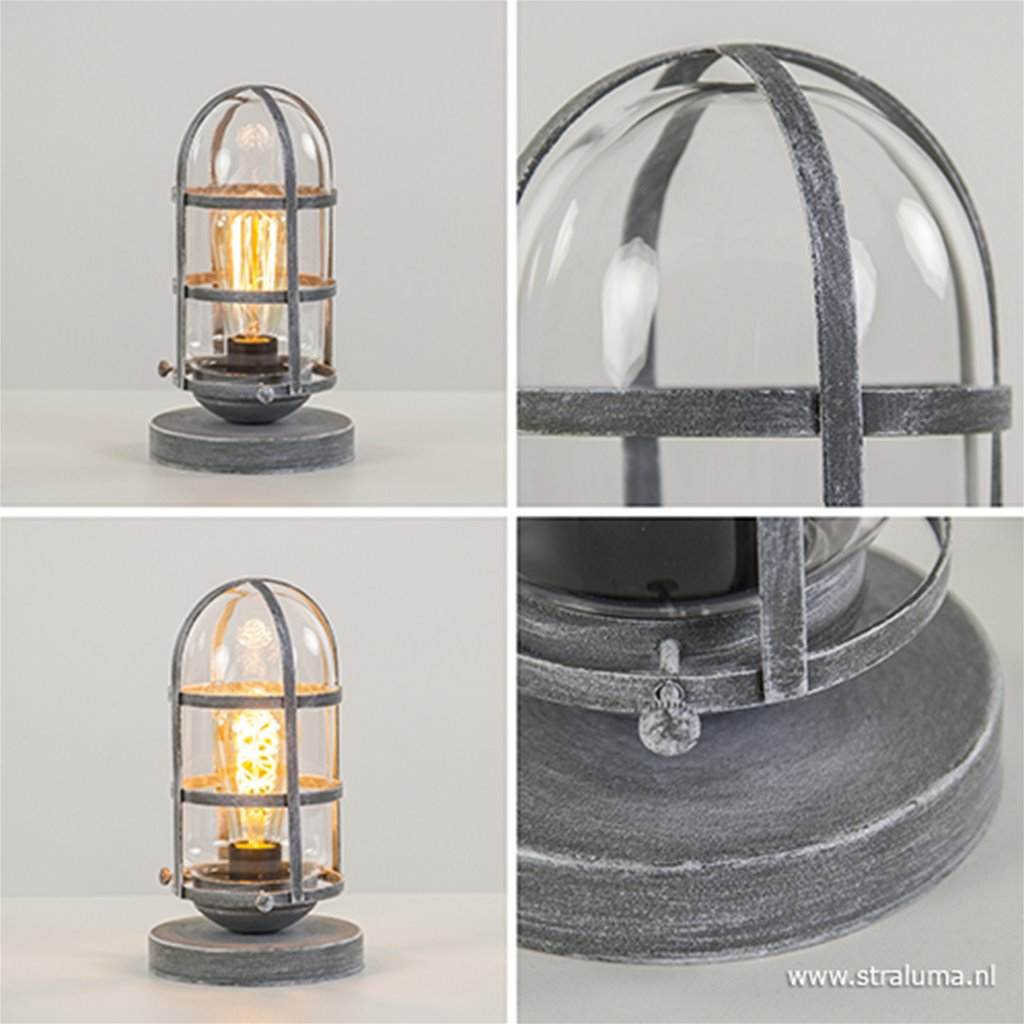 Industriële kooi tafellamp beton glas