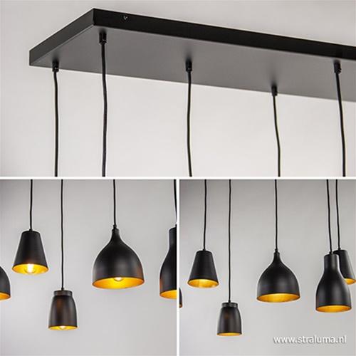 Hanglamp 8-lichts zwart/goud multipendel