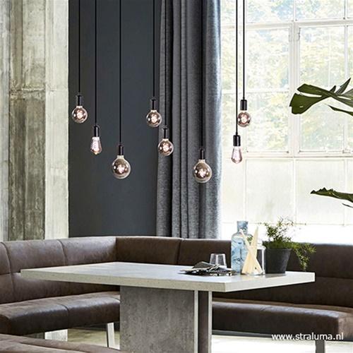 Hanglamp / multipendel 8L plaat 110cm zwart ex.e27 lb