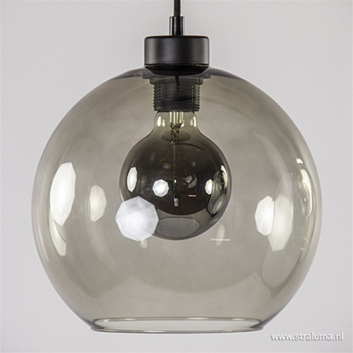 Hanglamp 4-lichts balk zwart + smoke glas 25cm
