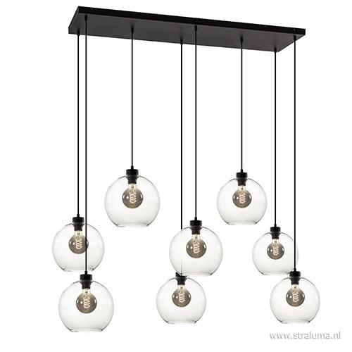 Grote 8-lichts multipendel/ hanglamp met helder glas