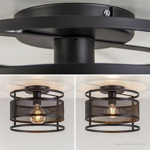 Plafondlamp cilinder gaas zwart