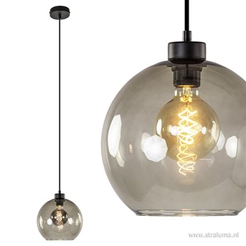 Hanglamp zwart met smoke glas 25cm