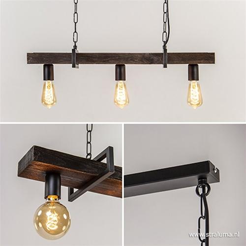 Landelijke hanglamp houten balk 3-lichts
