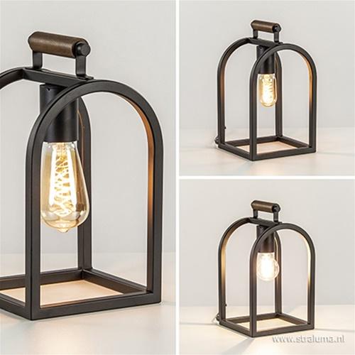 Landelijke tafellamp zwart frame en hout