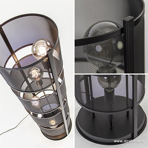 Vloerlamp 4L cilinder gaas zwart