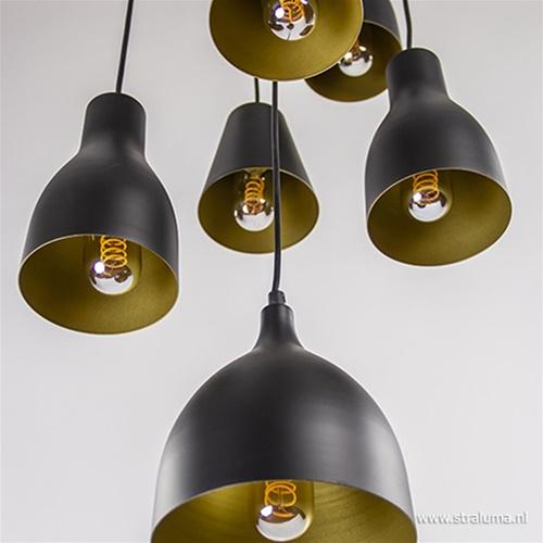 Hanglamp zwart met goud rond 9-lichts