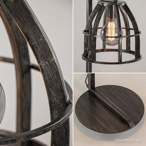 Industriële tafellamp antiek zwart