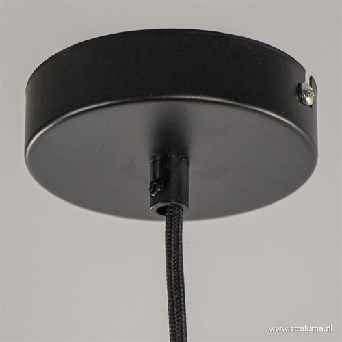 Zwart metalen hanglamp met hexagon kap