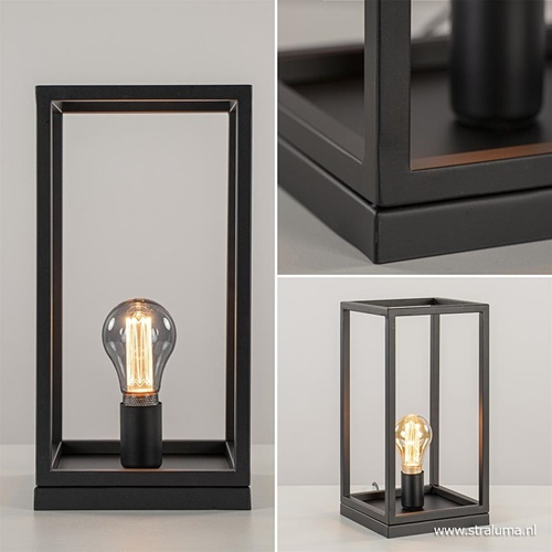 Vierkante tafellamp frame zwart modern