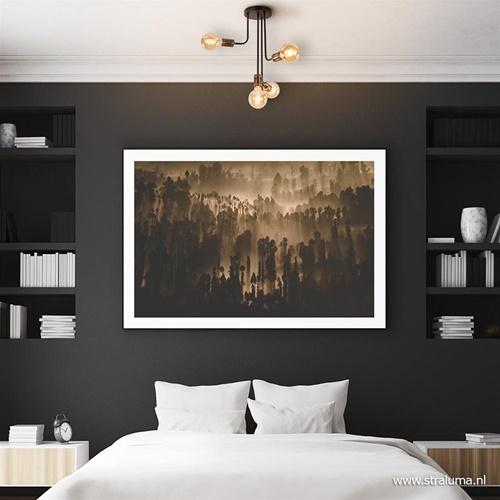 4-Lichts retro plafondlamp zwart/brons