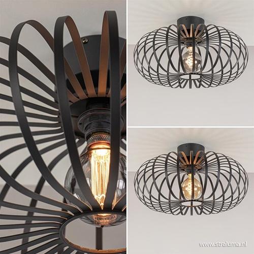 Plafondlamp donut zwart draad