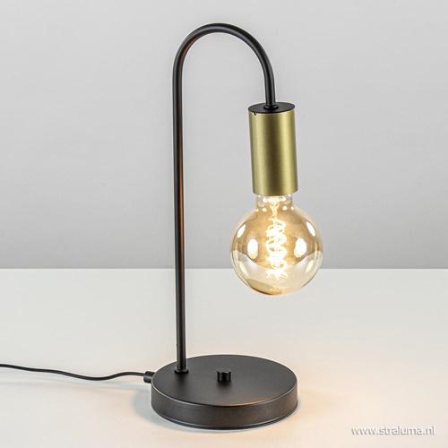 Trendy tafellamp zwart met goud excl. bron