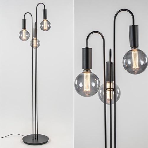Moderne 3-lichts vloerlamp mat zwart excl. bronnen