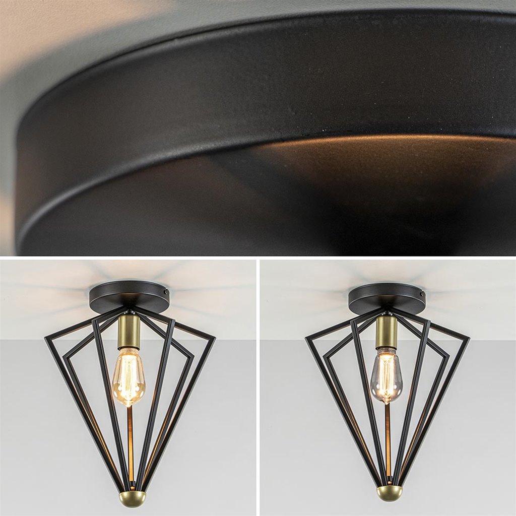 Plafondlamp open frame zwart met goud