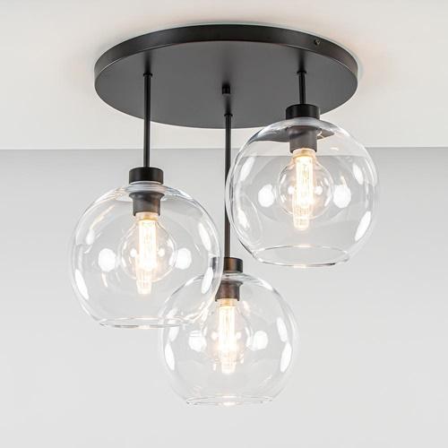 Plafondlamp 3-lichts zwart + helder glas 25cm