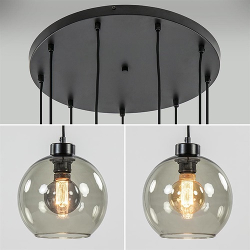 9-Lichts videlamp zwart met smoke glazen kappen
