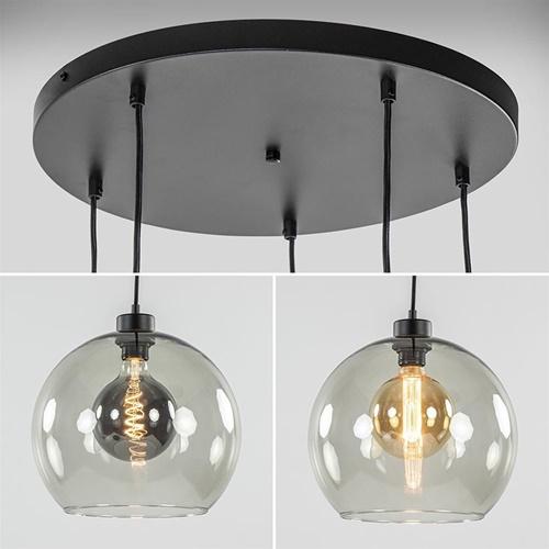 Smoke glazen 5-lichts videlamp / multipendel met zwarte plaat