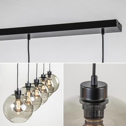 Hanglamp 5L balk + smoke glas 170cm