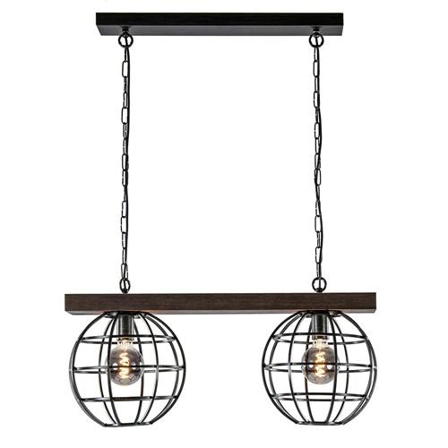 Industriële hanglamp antiek zwart met hout
