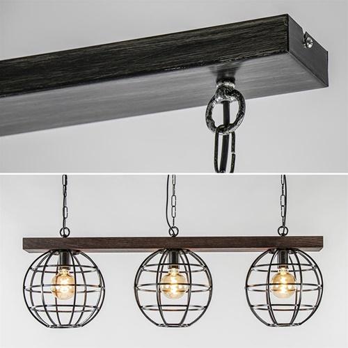 3-Lichts antiek zwarte hanglamp met houten balk