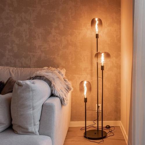 3-Lichts moderne vloerlamp mat zwart exclusief lichtbron