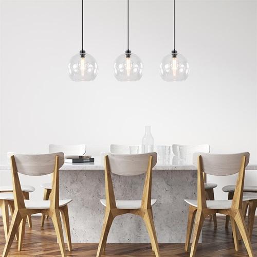 Moderne eettafelhanglamp zwart met helder glas