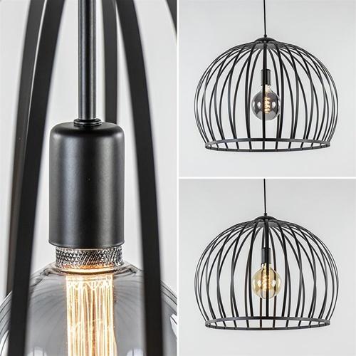 Grote hanglamp mat zwart metaal