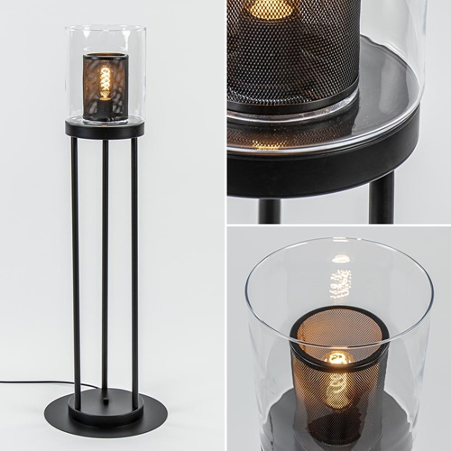 Vloerlamp mat zwart met helder glazen kap