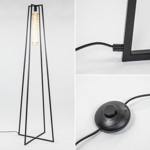Vloerlamp open frame schuin zwart XXL