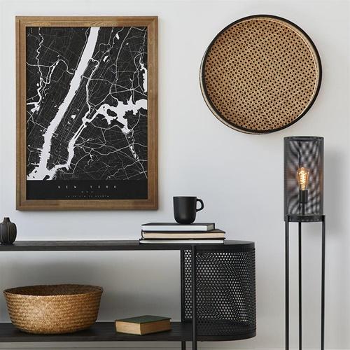 Mat zwarte driepoot vloerlamp cilinder groot