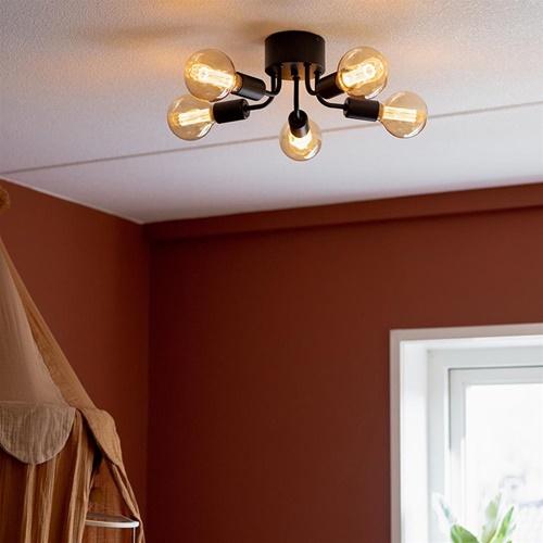 Trendy plafondlamp mat zwart exclusief lichtbron