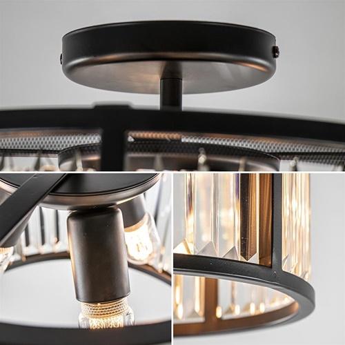 Chique plafondlamp mat zwart met kristal glas